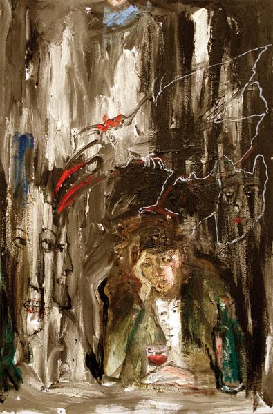 L'oiseau et le philosophe - techniques mixtes sur toile - 145 x 97 - 2012