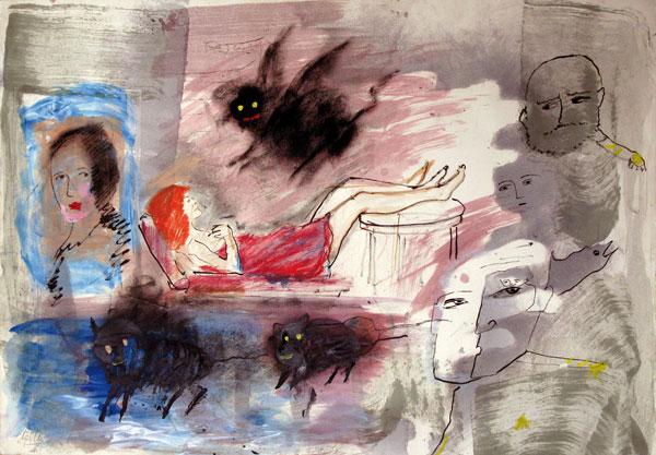 La psychanalyse - gouache sur papier - 50 x 70 - 2013