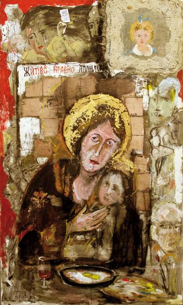 Le retour de la Sainte Russie - techniques mixtes sur toile - 162 x 97 - 2012