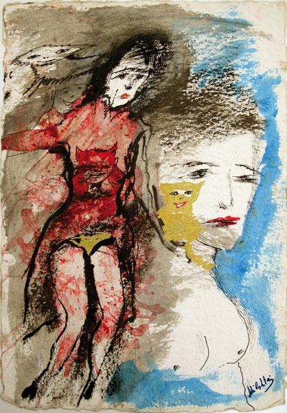 Les amoureuses - gouache sur papier - 58 x 38 - 2008