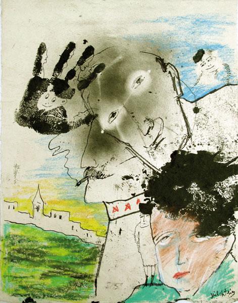Sens interdit - gouache sur papier - 51 x 38 - 2008