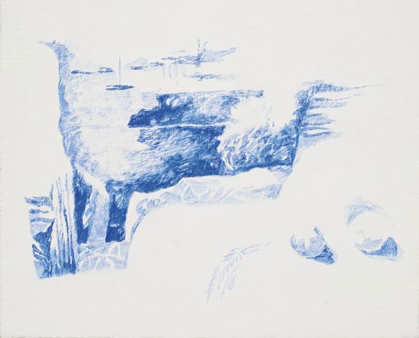 Terrasse bleue - Acrylique sur toile - 33 x 41 - 2016
