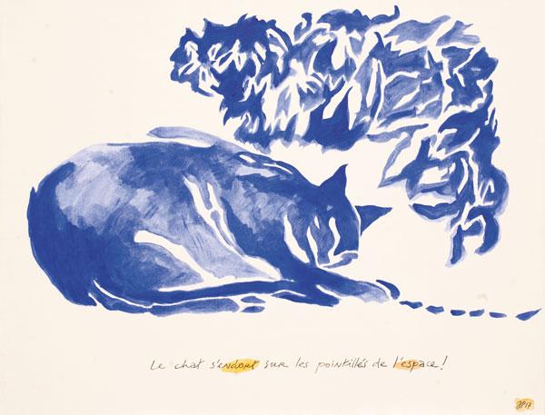 chat pointillé - Acrylique sur papier marouflé sur toile - 50 x 65 - 2016