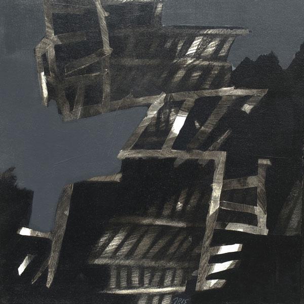 Rivage d'ombre 2 - Technique mixte sur papier marouflé sur toile - 30 x 30 - 2015
