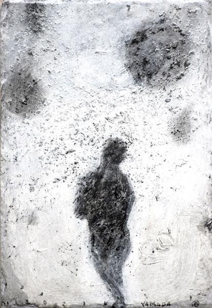 Poussière - acrylique sur ardoise - 32 x 22 - 2017