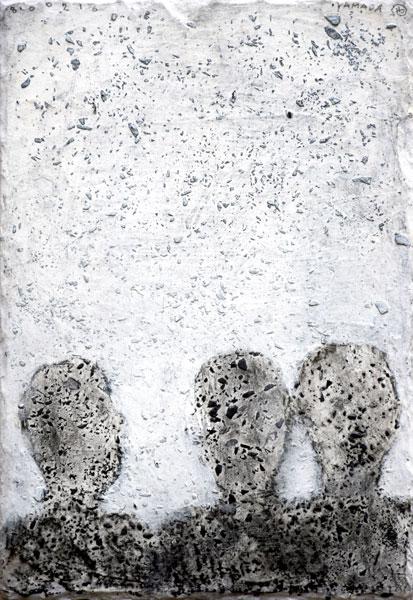 Trio - acrylique sur ardoise - 32 x 22 - 2017
