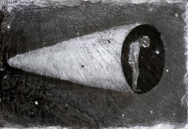 Vol de nuit - acrylique sur ardoise - 22 x 32 - 2017