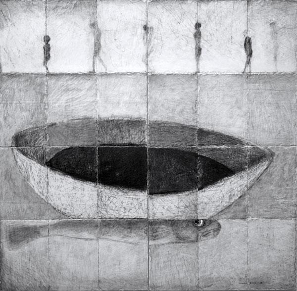 mon œil-acrylique sur ardoise - 128 x 132 - 2017