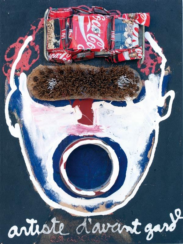 Artiste d'avant garde - acrylique et objets sur bois - 40 x 30 x 7 - 1992