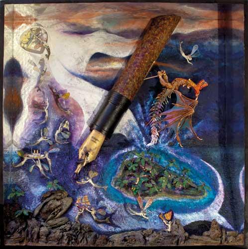 Aux Ecrivains des mers violettes - Boîte, technique mixte - 100 x 100 x 20 - 2013