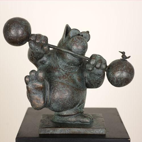 Le Petit Chatltérophile - Bronze edition 25 ex