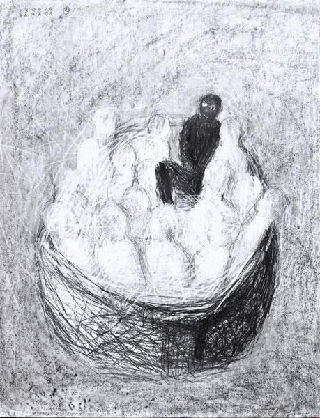 La nuit blanche - encre sur papier - 65 x 50 - 2017