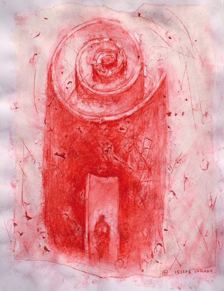 donjon - encre sur papier - 65 x 50 - 2017