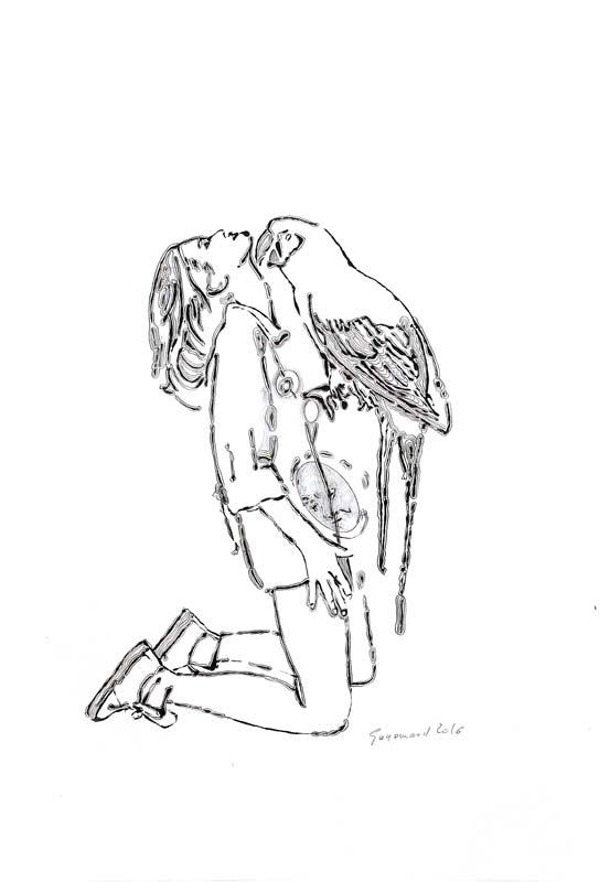 Dessin 02 - Encre mine de plomb et crayon de couleur - 39 x 29 - 2014 2017