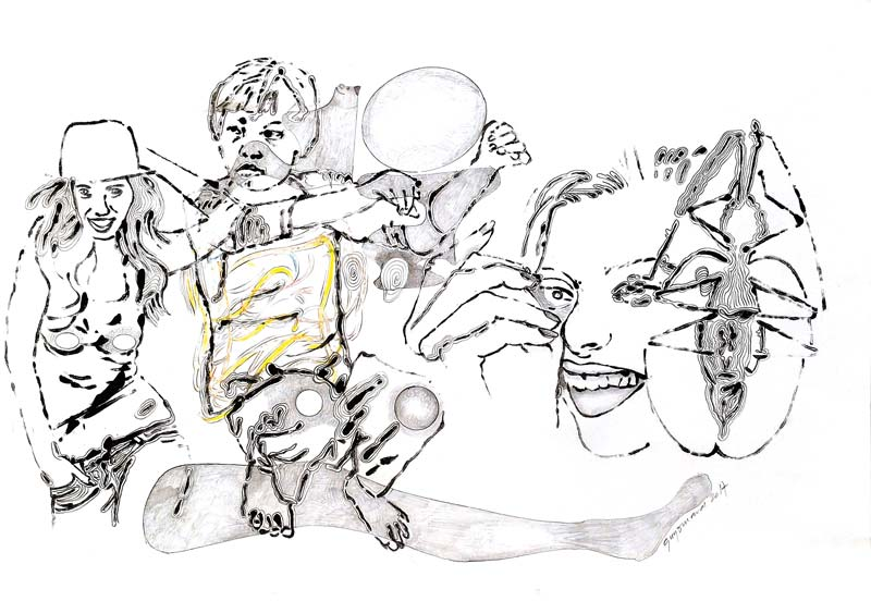 Dessin 16 - Encre mine de plomb et crayon de couleur - 29 x 39 - 2014 2017