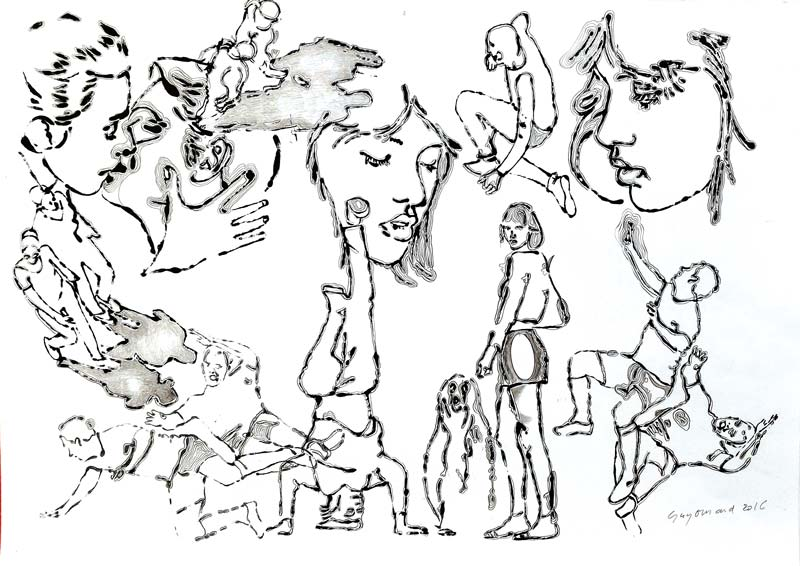 Dessin 23 - Encre mine de plomb et crayon de couleur - 29 x 39 - 2014 2017