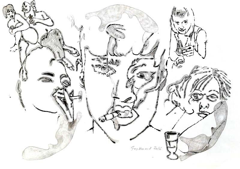 Dessin 28 - Encre mine de plomb et crayon de couleur - 29 x 39 - 2014 2017