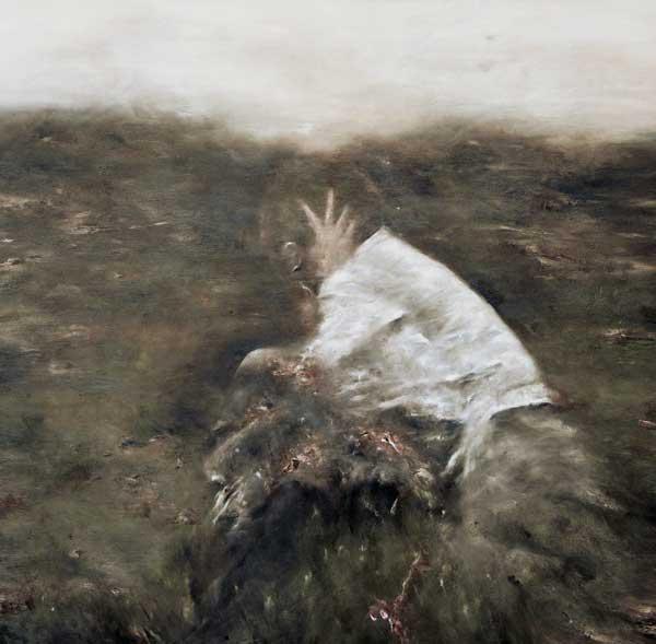 Deux figures dans un paysage - huile sur toile - 2016 - 100 x 100
