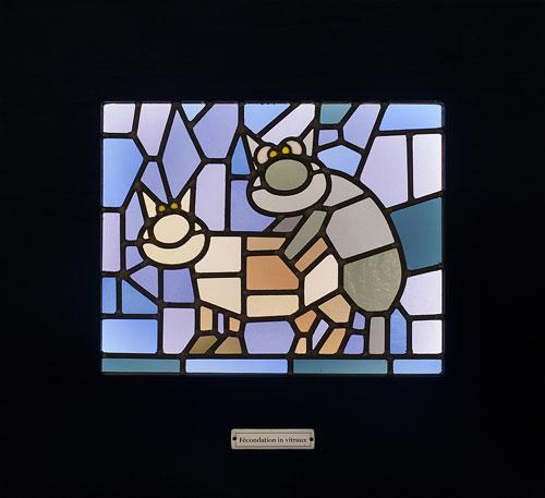 Fécondation in vitraux - vitrail, bois et éclairage led, 15 ex - 90 x 70