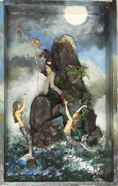 La pêche aux Belles - Boîte, technique mixte - 35 x 22 x 8 - 2016