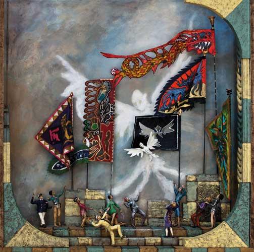 Les drapeaux vivants - Boîte, technique mixte - 60 x 59 x 14 - 2012