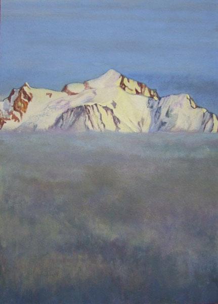 Mont Blanc au dessus de la mer de brouillard - Technique mixte sur panneau - 122 x 87 - 2017