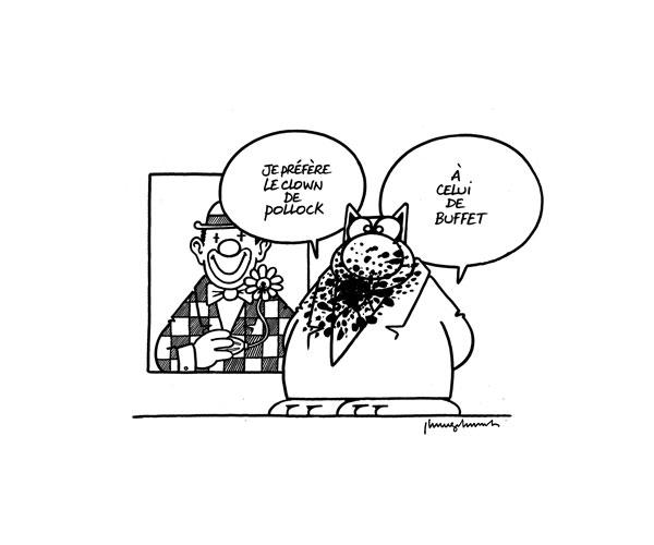 Buffet vs Pollock - encre sur carton - 50 x 60