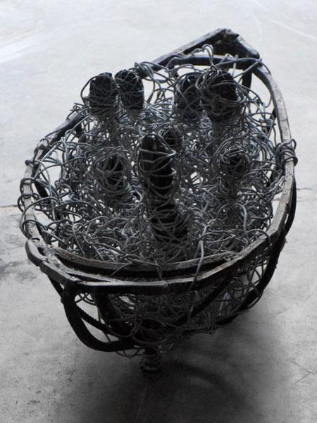 Hommage à Delacroix - Ardoise, fer et fil de fer - 33 x 74 x 33 - 2017