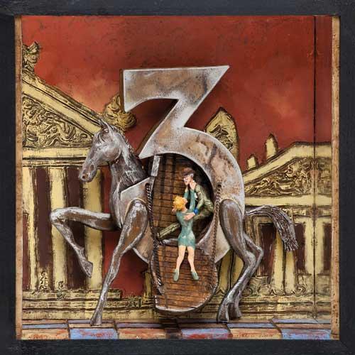 Un cheval de Troie pour deux - Boîte, technique mixte - 32 x 32 x 14 - 2013