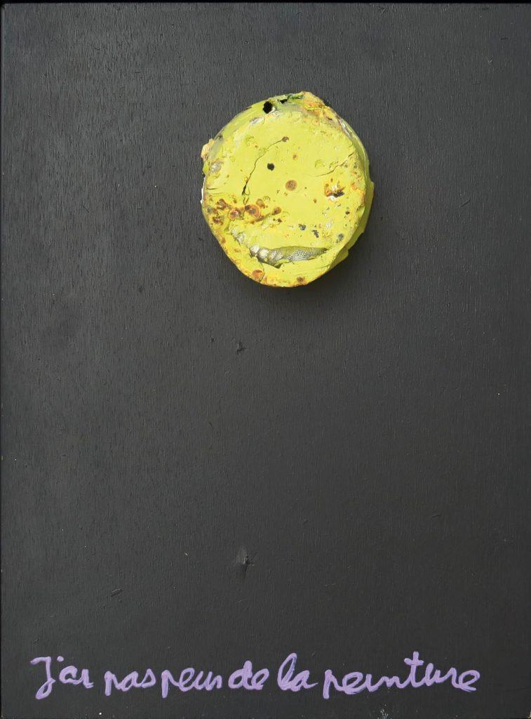 j ai pas peur de la peinture - acrylique et objet sur bois - 40 x 30 - 1994