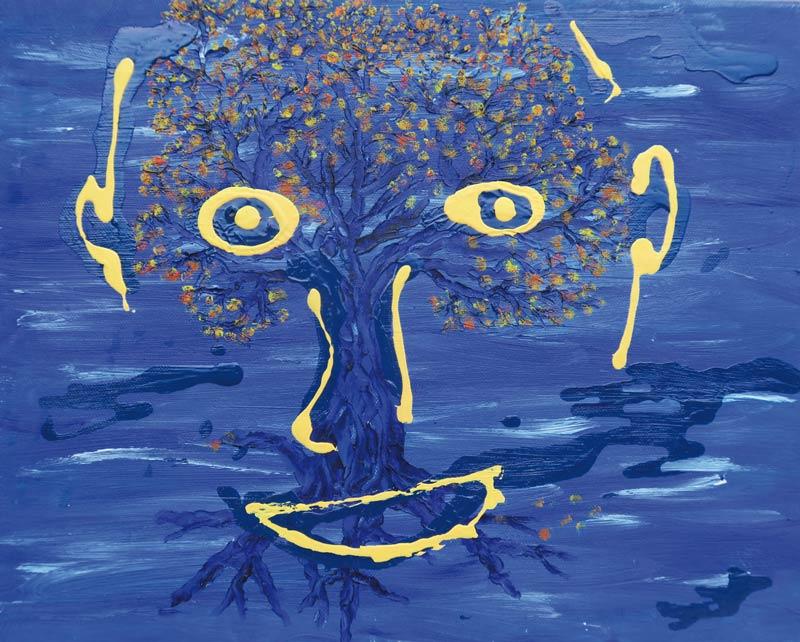portrait sans texte - acrylique sur toile - 33 x 41 - 2017