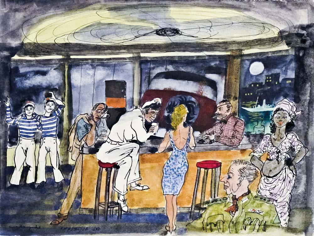 Gilles GHEZ : Cadaques Bar ventilo - peinture sur papier