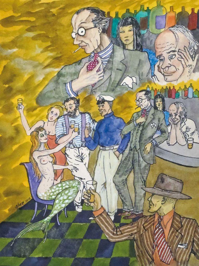 Gilles GHEZ : Cadaques Sirène assise - peinture sur papier