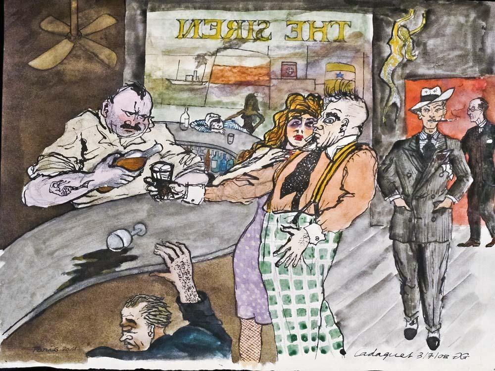 Gilles GHEZ : Cadaques Sirène au bar - peinture sur papier