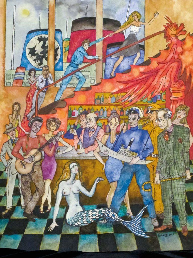 Gilles GHEZ : Cadaques The Siren - peinture sur papier