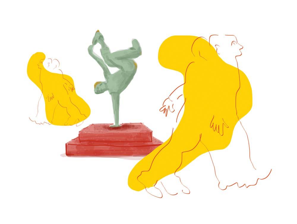 Ivan MESSAC : Et hop ! une sculpture - 2016 - encre sur papier - 50 x 70