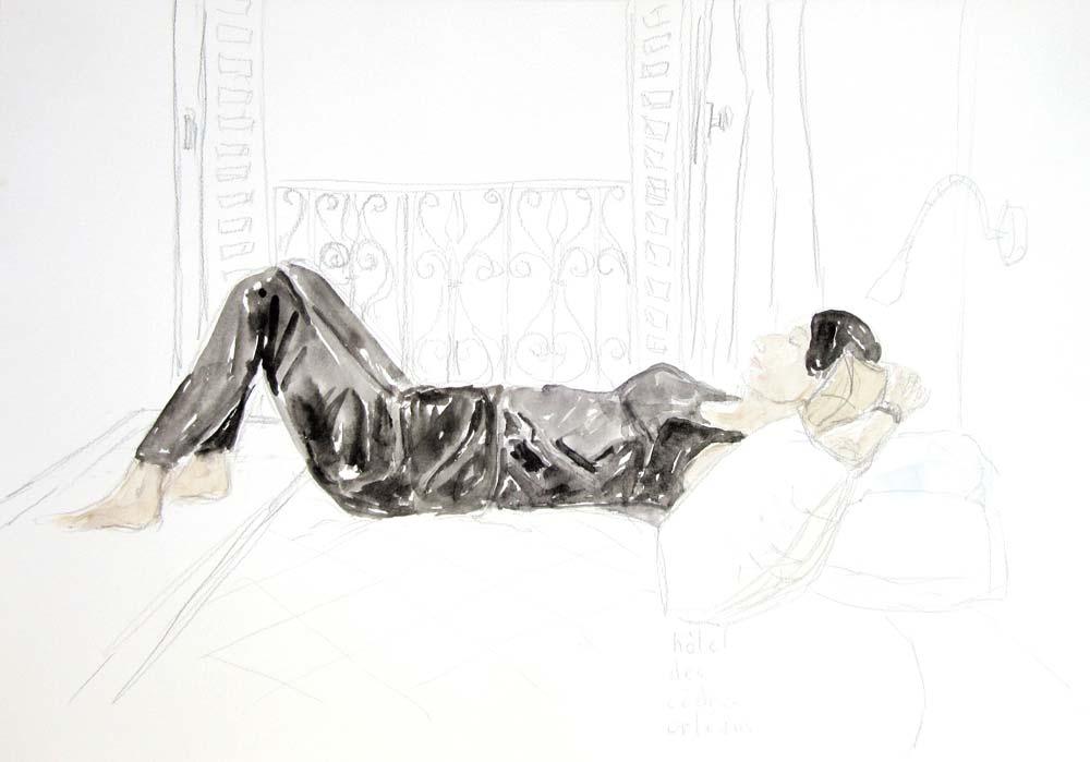 ELZEVIR : Hôtel des Cèdres - 2017 - Crayon et aquarelle - 29,5 x 42
