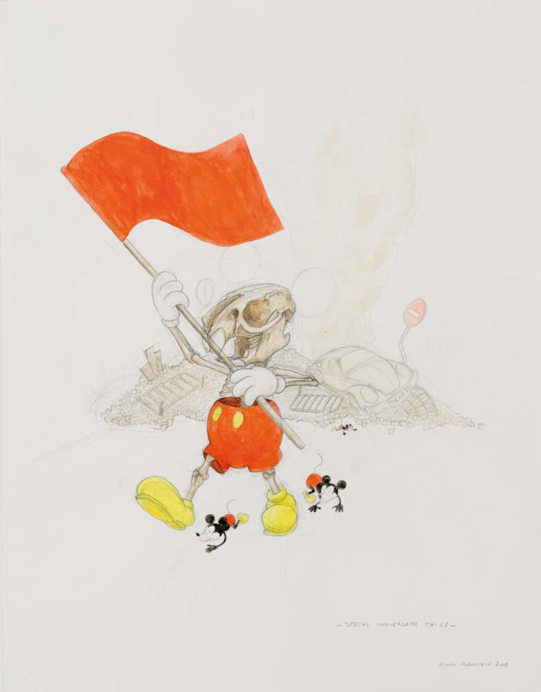 Nicolas RUBINSTEIN : Le journal de Nicko spécial 68, dessin d'étude - 2008 - crayon et aquarelle sur papier - 65 x 50