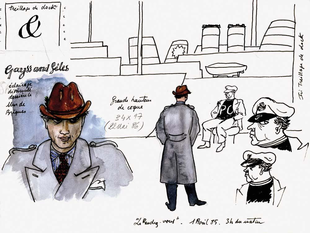 Gilles GHEZ : Le rendez-vous - dessin sur papier