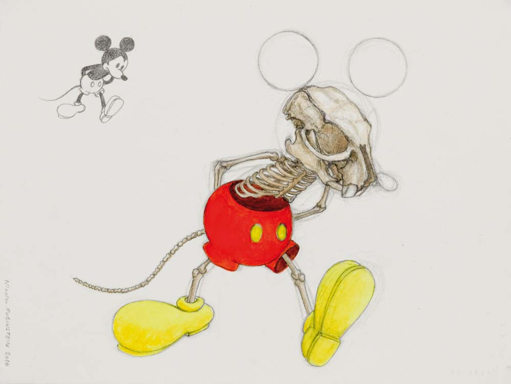 Nicolas RUBINSTEIN : Mickey is also a rat, étude de position - 2010 - crayon et aquarelle sur papier - 24 x 32