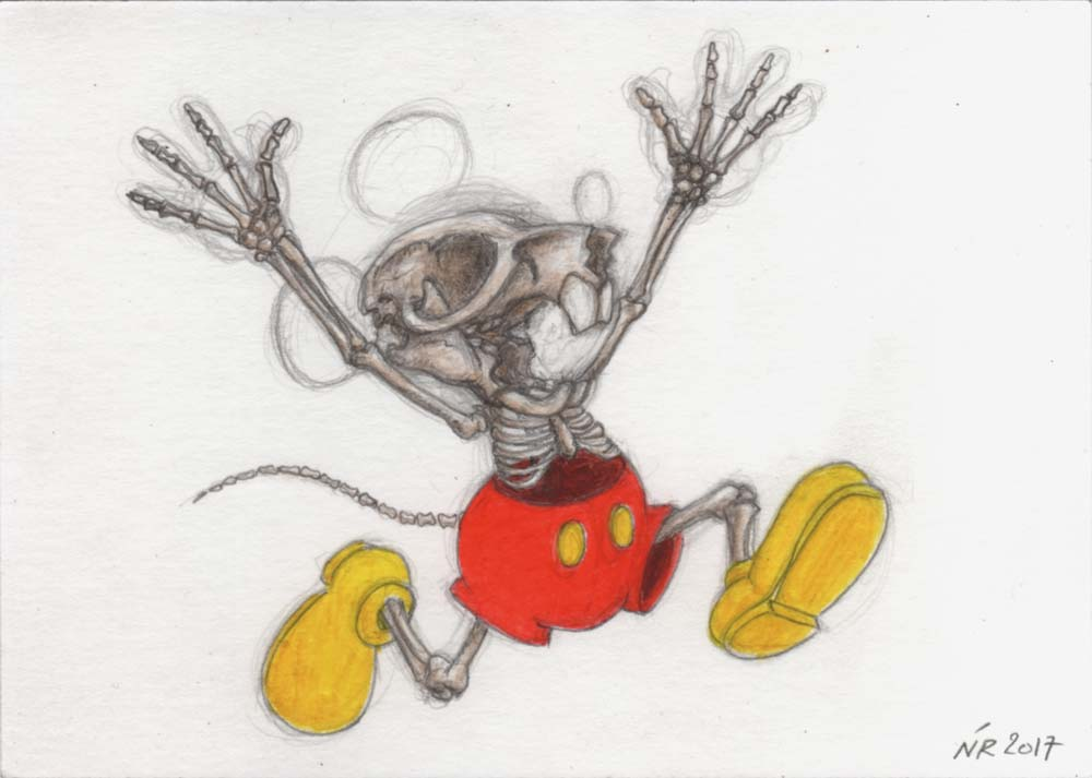 Nicolas RUBINSTEIN : Mickey is also a rat - 2017 - crayon et aquarelle sur papier - 24 x 32