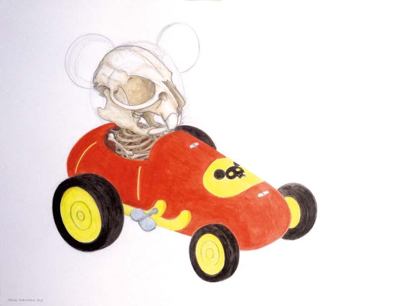 Nicolas RUBINSTEIN : Mickey toy 3 - 2015 - crayon et aquarelle sur papier - 50 x 65