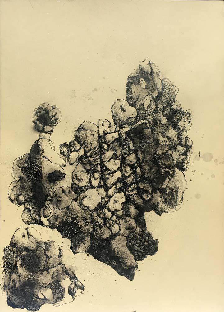 Muriel POLI : Paysage anthropomorphe – 2018 - Encre de chine sur papier – 50 x 70