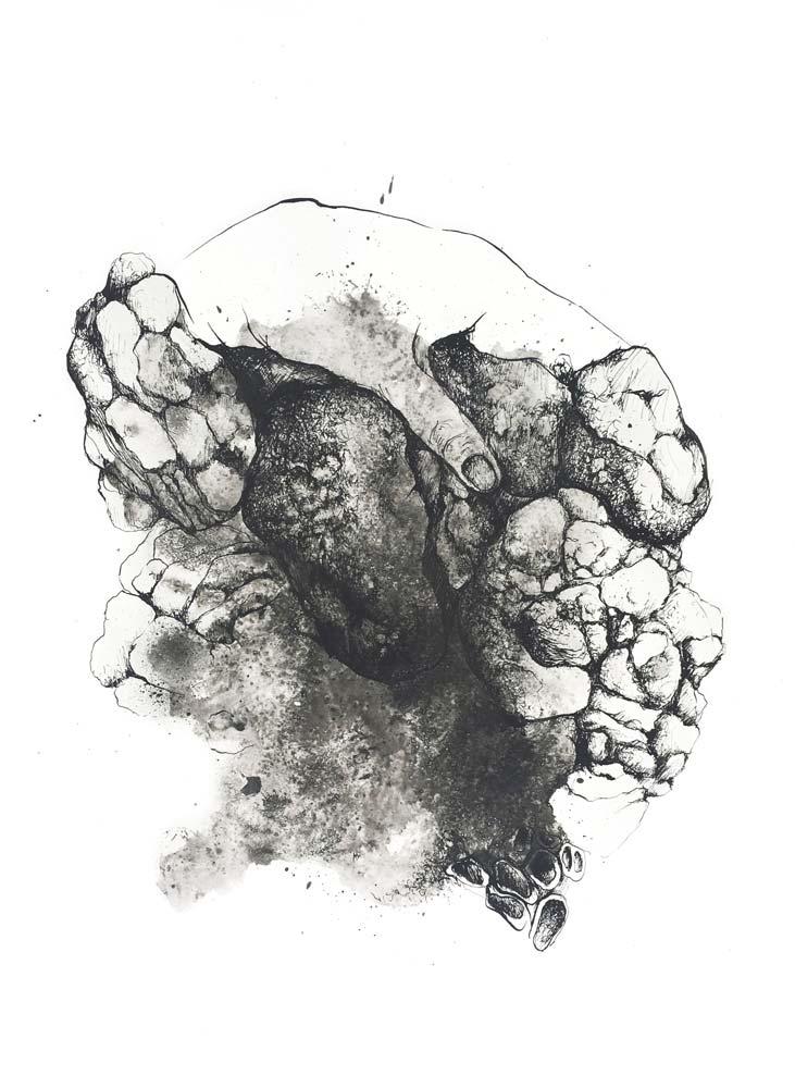 Muriel POLI : paysage antropomorphique 2 – 2018 - Encre de chine sur papier – 50 x 70