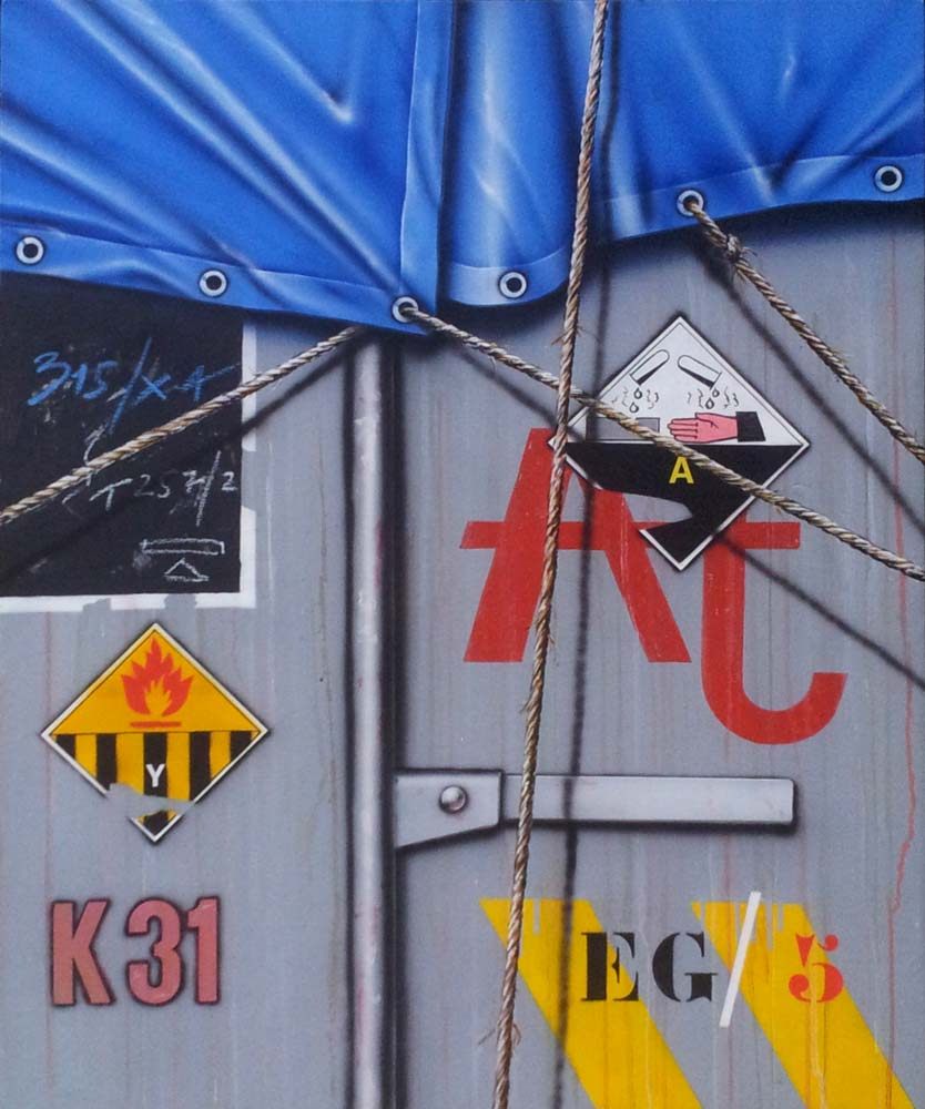 Klasen - Camion bâché bleu gris 1992 acrylique sur toile, 100 x 81