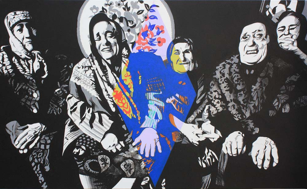 Rancillac - Les vieilles de Grosny 1995 acrylique sur toile 89 x 146