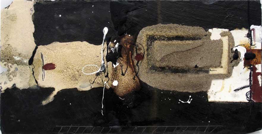 Sans titre A02-15 Huile et matière sur ardoise, 28 x 56