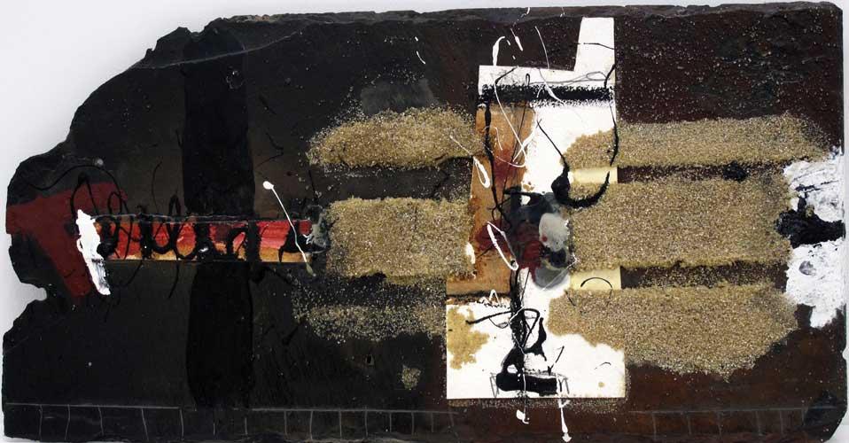 Sans titre A03-15 Huile et matière sur ardoise, 28 x 56