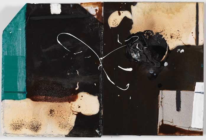 Sans titre A12-14 Huile et matière sur ardoise et métal, 34 x 52