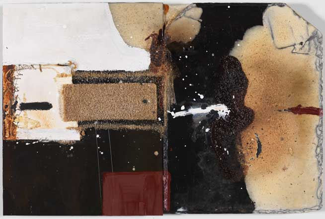 Sans titre A17-14 Huile et matière sur ardoile et métal, 34 x 52